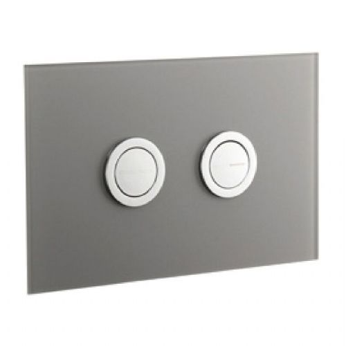 Abacus Lustrolite Press Panel Glass Effect Dual Flush Plate - Titan